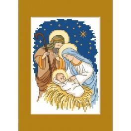 Wzór graficzny - Kartka Bożonarodzeniowa – Święta Rodzina - Haft krzyżykowy