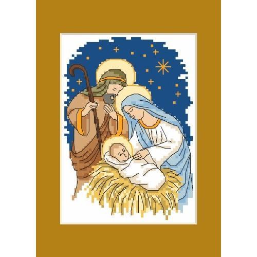 Wzór Graficzny Kartka Bożonarodzeniowa święta Rodzina Haft Kr