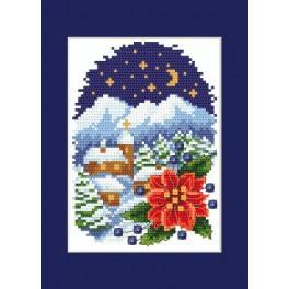 Wzór graficzny - Kartka świąteczna - Pejzaż z poisencją - Haft krzyżykowy