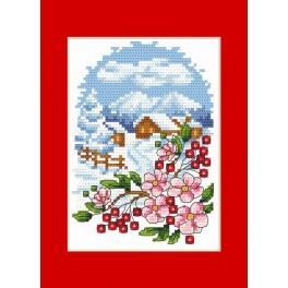 Wzór graficzny - Kartka świąteczna - Pejzaż z kwiatami - Haft krzyżykowy