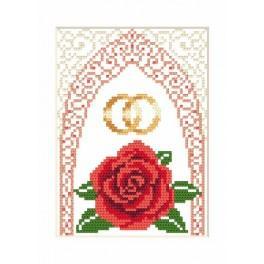 Wzór graficzny - Kartka ślubna - Złote obrączki - Haft krzyżykowy