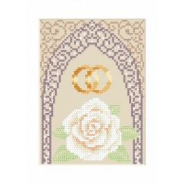 GU 4905-02 Wzór graficzny - Kartka ślubna - Złote obrączki - Haft krzyżykowy