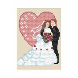 Wzór graficzny - Kartka ślubna - Młoda para - Haft krzyżykowy