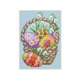 Wzór graficzny - Kartka wielkanocna - Pisanki w koszyku - Haft krzyżykowy