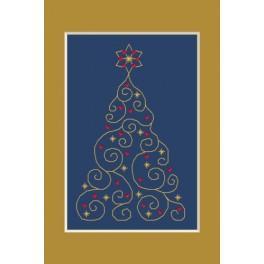 Wzór graficzny - Kartka świąteczna - Choinka z gwiazdkami - Haft krzyżykowy