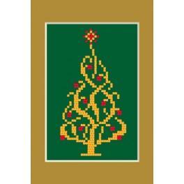 Wzór graficzny - Kartka świąteczna - Błyszcząca choinka - Haft krzyżykowy
