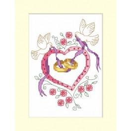 Wzór graficzny - Kartka - Ślubne obrączki - Haft krzyżykowy