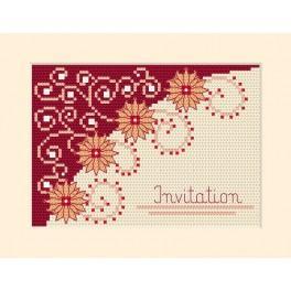 GU 4955-02 Wzór graficzny - Zaproszenie – Kwiaty - Haft krzyżykowy