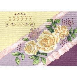 Wzór graficzny - Kartka zaproszenie - Róże - Haft krzyżykowy