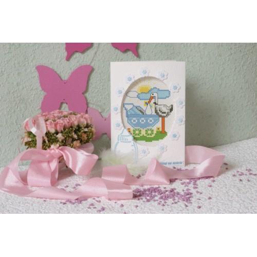 Wzór graficzny - Kartka urodzinowa - Bocian - Haft krzyżykowy