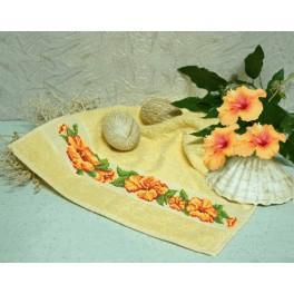 Wzór graficzny - Ręcznik z hibiskusem - Haft krzyżykowy