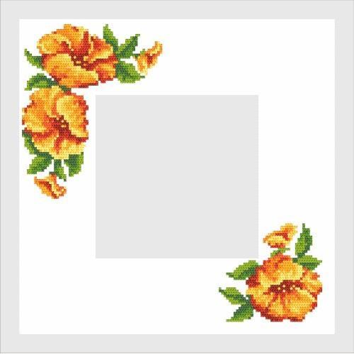 Wzór graficzny - Serwetka z hibiskusem - Haft krzyżykowy