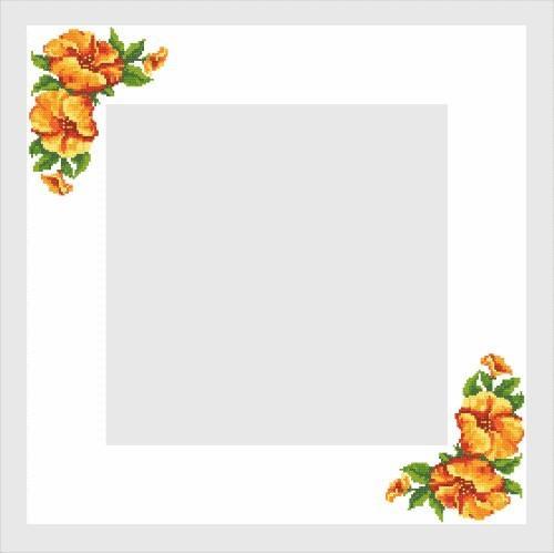 Wzór graficzny - Obrus z hibiskusem - Haft krzyżykowy