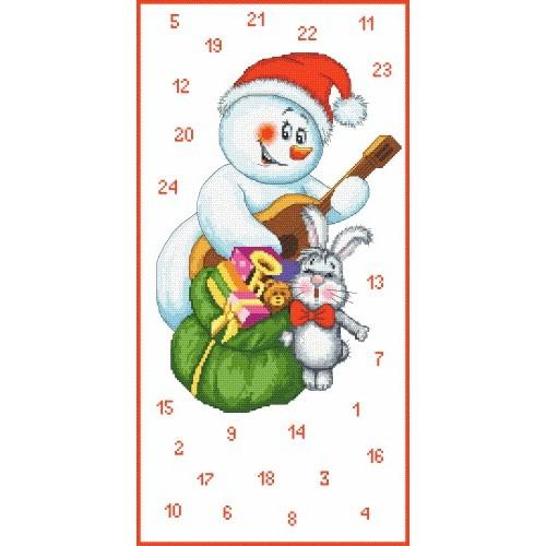 Wzór graficzny - Kalendarz Adwentowy - Bałwanek muzykant - Haft krzyżykowy