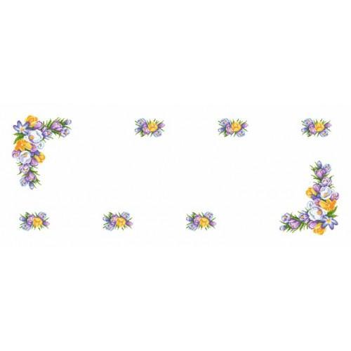 Wzór graficzny - Bieżnik z krokusami - Haft krzyżykowy