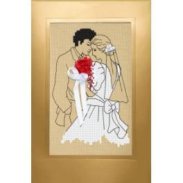 Wzór graficzny - Kartka ślubna - Nowożeńcy - Haft krzyżykowy