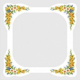 Wzór graficzny - Obrus z wiosennymi kwiatami - Haft krzyżykowy