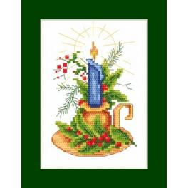 Wzór graficzny - Kartka świąteczna - Kartka ze świecą - Haft krzyżykowy