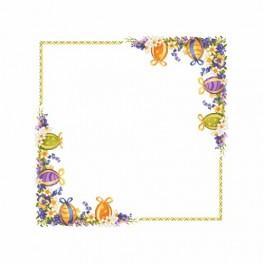 Wzór graficzny - Obrus w wiosennych kwiatach - Haft krzyżykowy