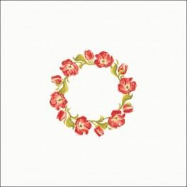 Wzór graficzny - Obrus - Tulipanowy wianuszek 90x90 cm - Haft krzyżykowy