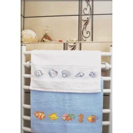 Wzór graficzny - Ręcznik z muszelkami - Haft krzyżykowy