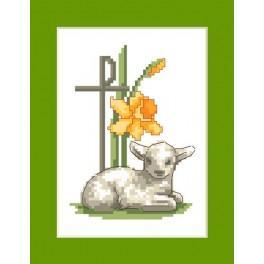 Wzór graficzny - Kartka z barankiem - Haft krzyżykowy