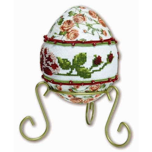 Wzór graficzny - Różane jajo - Haft krzyżykowy