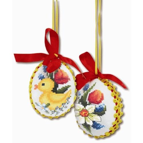 Wzór graficzny - Wiosenne jajka - Haft krzyżykowy