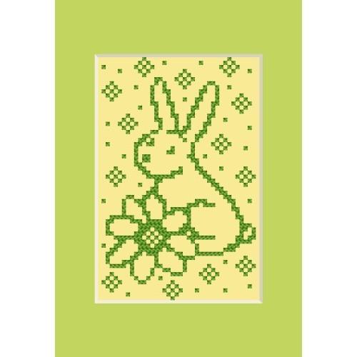 Wzór graficzny - Kartka wielkanocna - Zajączek z kwiatkiem - Haft krzyżykowy