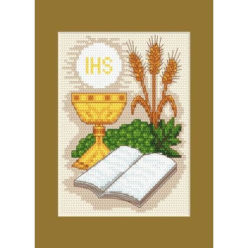 Wzór graficzny - Kartka komunijna - Biblia i kłosy - Haft krzyżykowy