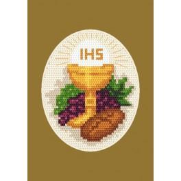 Wzór graficzny - Kartka komunijna - Chleb i winogrona - Haft krzyżykowy