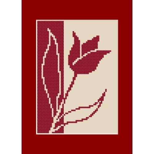 Wzór graficzny - Kartka urodzinowa - Tulipan - Haft krzyżykowy