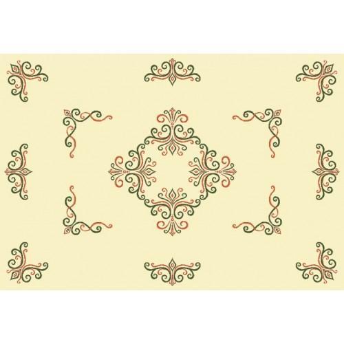 Wzór graficzny - Obrus z arabeską - Haft krzyżykowy