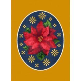 GU 8445 Wzór graficzny - Kartka świąteczna - Poisencja z gwiazdkami - Haft krzyżykowy