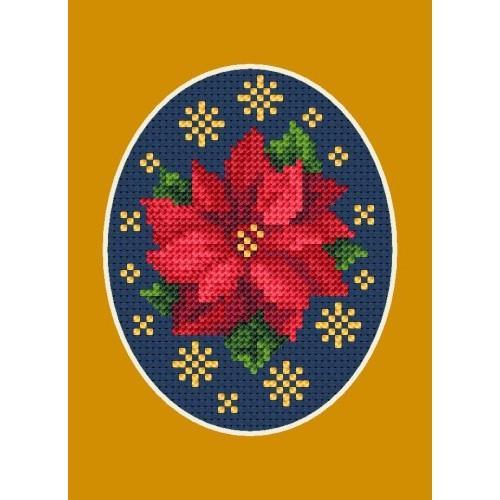 Wzór graficzny - Kartka świąteczna - Poisencja z gwiazdkami - Haft krzyżykowy