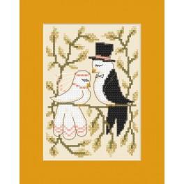 GU 8448 Wzór graficzny - Kartka ślubna - Zakochane gołąbki - Haft krzyżykowy