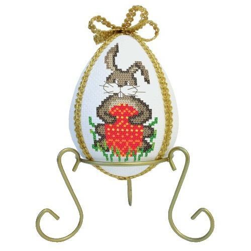 Wzór graficzny - Jajo z zającami i narcyzami - Haft krzyżykowy