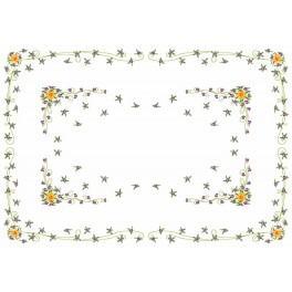 Wzór graficzny - Narcyzy z fiołkami - obrus - Haft krzyżykowy
