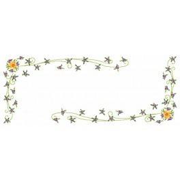 Wzór graficzny - Narcyzy z fiołkami - bieżnik - Haft krzyżykowy