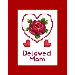 Wzór graficzny - Kartka - Dzień Matki - Haft krzyżykowy