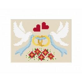 GU 8474 Wzór graficzny - Kartka ślubna - Gołąbki z obrączkami - Haft krzyżykowy