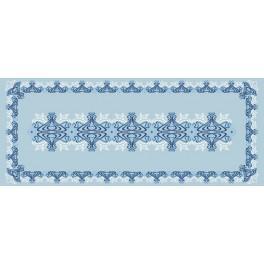 Wzór graficzny - Bieżnik niebieski - Haft krzyżykowy