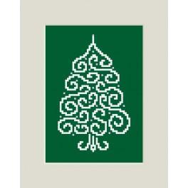 Wzór graficzny - Kartka z choinką - Haft krzyżykowy