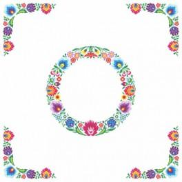 Wzór graficzny - Obrus etniczny - koło - Haft krzyżykowy