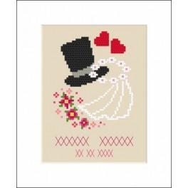 GU 8557 Wzór graficzny - Kartka ślubna - Haft krzyżykowy