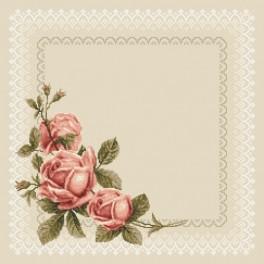 Wzór graficzny - Serwetka z koronką i różami - Haft krzyżykowy