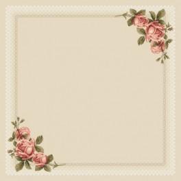 Wzór graficzny - Obrus z koronką i różami - Haft krzyżykowy
