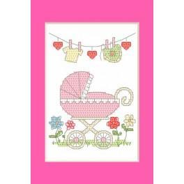 Wzór graficzny - Kartka okolicznościowa - Narodziny dziewczynki - Haft krzyżykowy