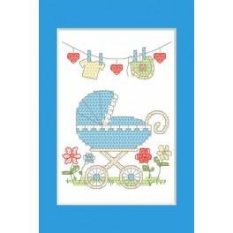 Wzór graficzny - Kartka okolicznościowa - Narodziny chłopca - Haft krzyżykowy