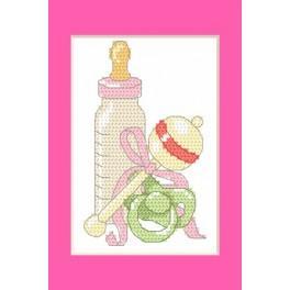 Wzór graficzny - Kartka okolicznościowa - Narodziny córki - Haft krzyżykowy